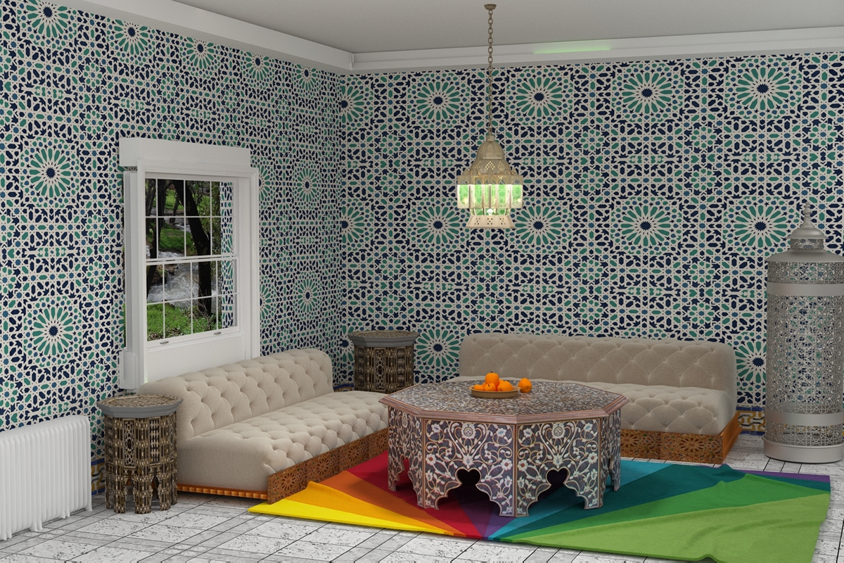 Moroccan Living Room 3d modern moroccan living room on behance