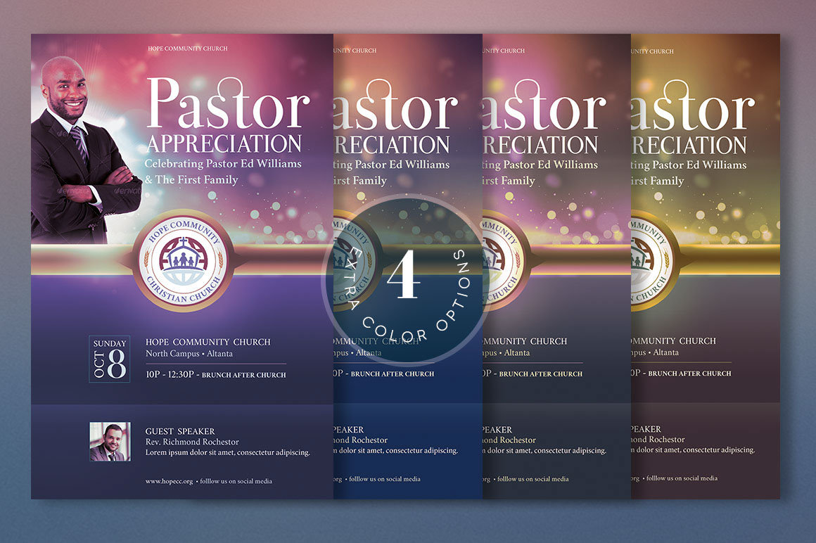 Pastor Appreciation Flyer Poster Template Created With Photoshop Is For Anniversary Celebration And Events Church Pastors