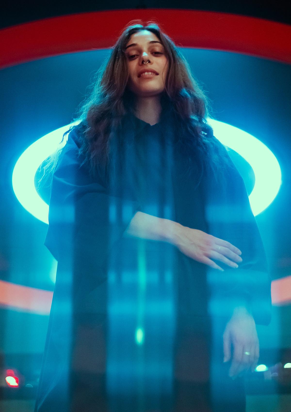 Adobe Portfolio dj music musician portrait neon techno