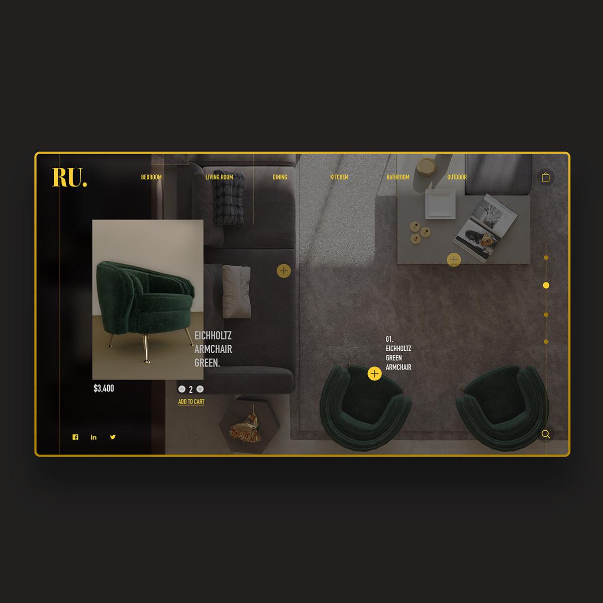 Interior Design Ui Concept On Student Show,Emerald Green Dark Green Interior Design