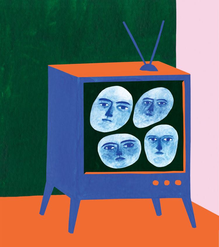 talking heads music so young magazine magazine ILLUSTRATION  portrait tv painting   gouache editorial