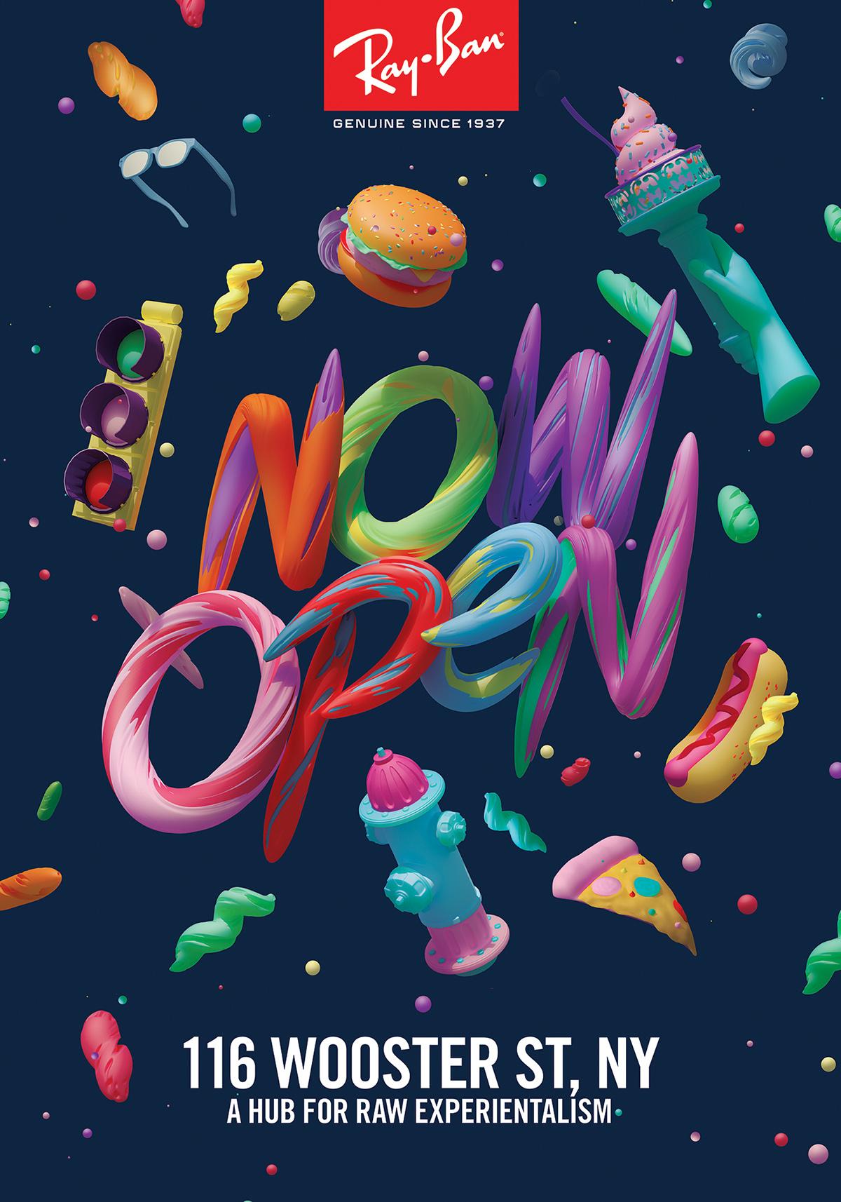 nyc New York burger Sunglasses hot dog fire hyrdant soho Candy cinema4d Pizza Window Display