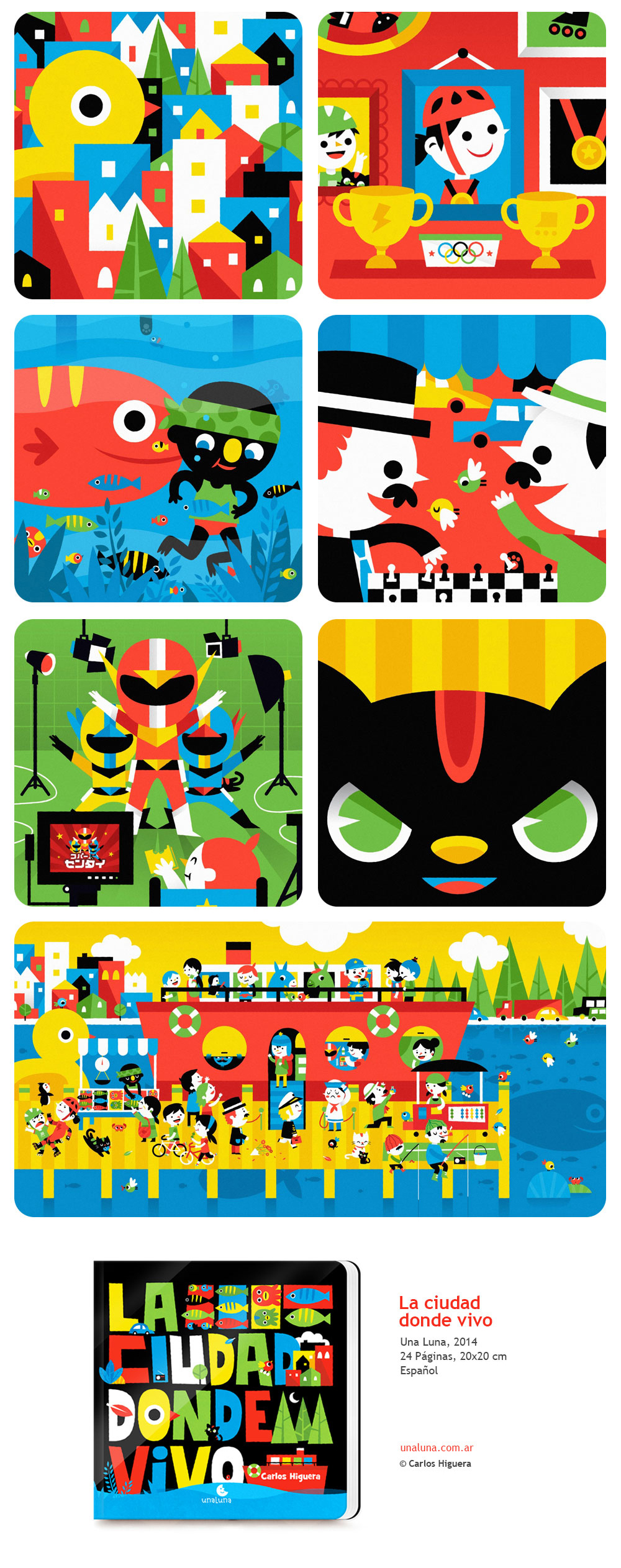Adobe Portfolio carloshiguera ciudad ilustracion ilustrador Gato Cat city book children