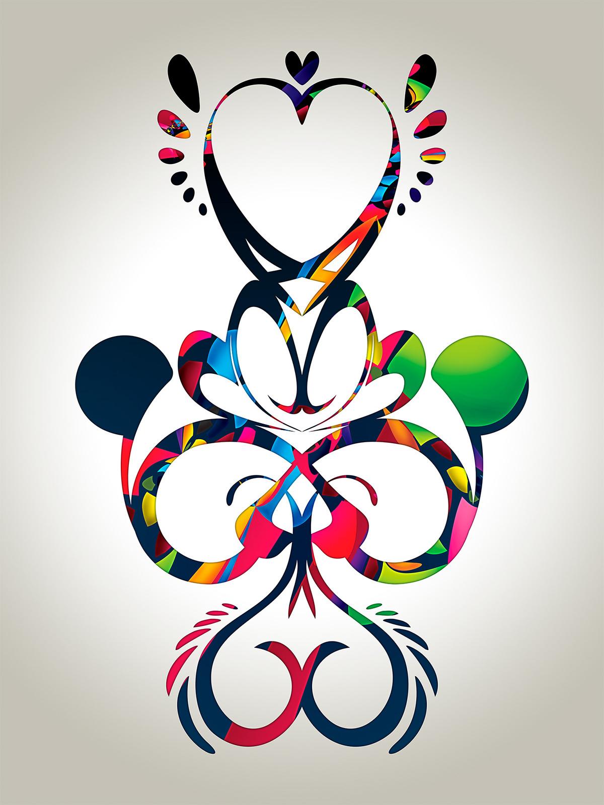 Illustrator vector color vibrant martian Love heart II black White pattern shapes raster