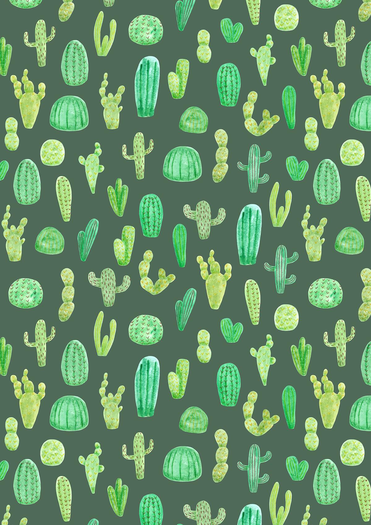 cactus pattern cacti pattern design  green Nature watercolour cactus illustration cacti pattern nature pattern plants