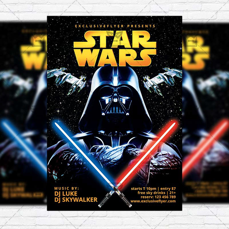 Star Wars - Free Club and Party Flyer PSD Template on Behance