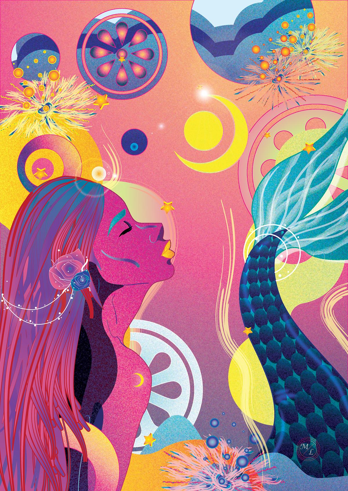 adobeillustrator Graphic Designer MadeWithAI mermaidart mermaid luna sea color ILLUSTRATION