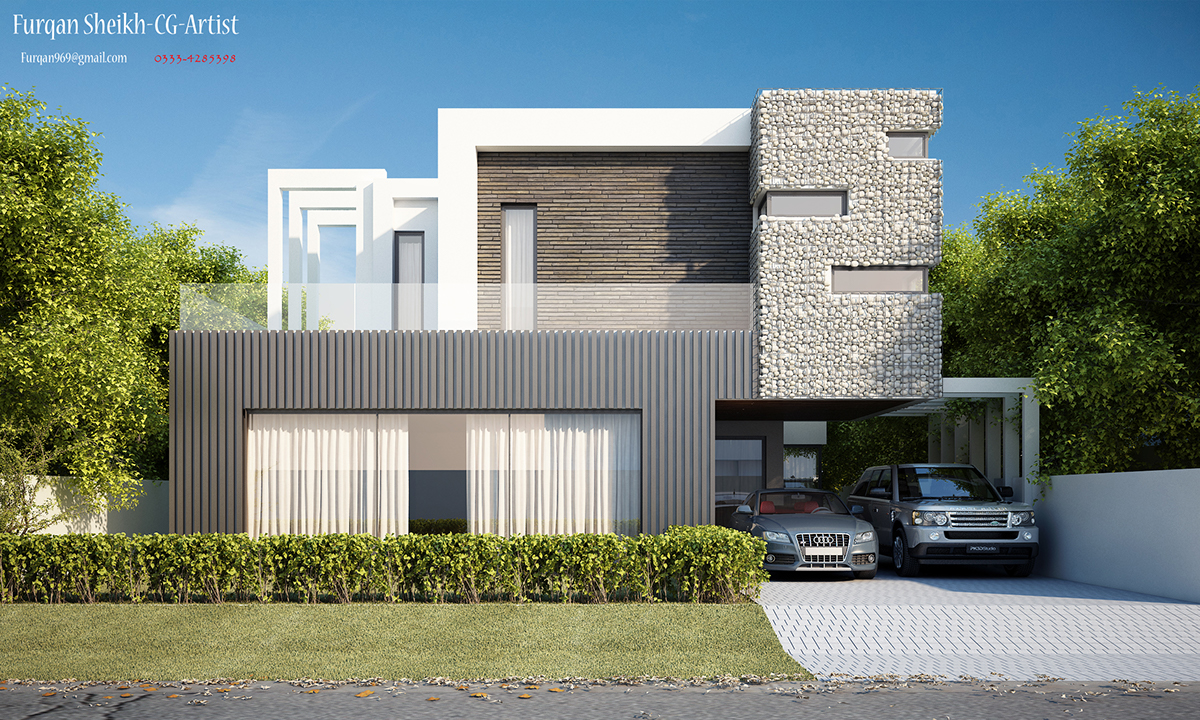 1 Kanal House Front Elevation On Behance