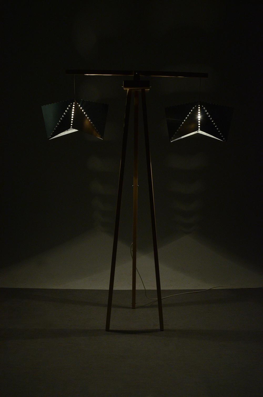 floor lamp wood aluminum MOVING ash recycling lighting mood light Lighting Design  folding Triangles bending