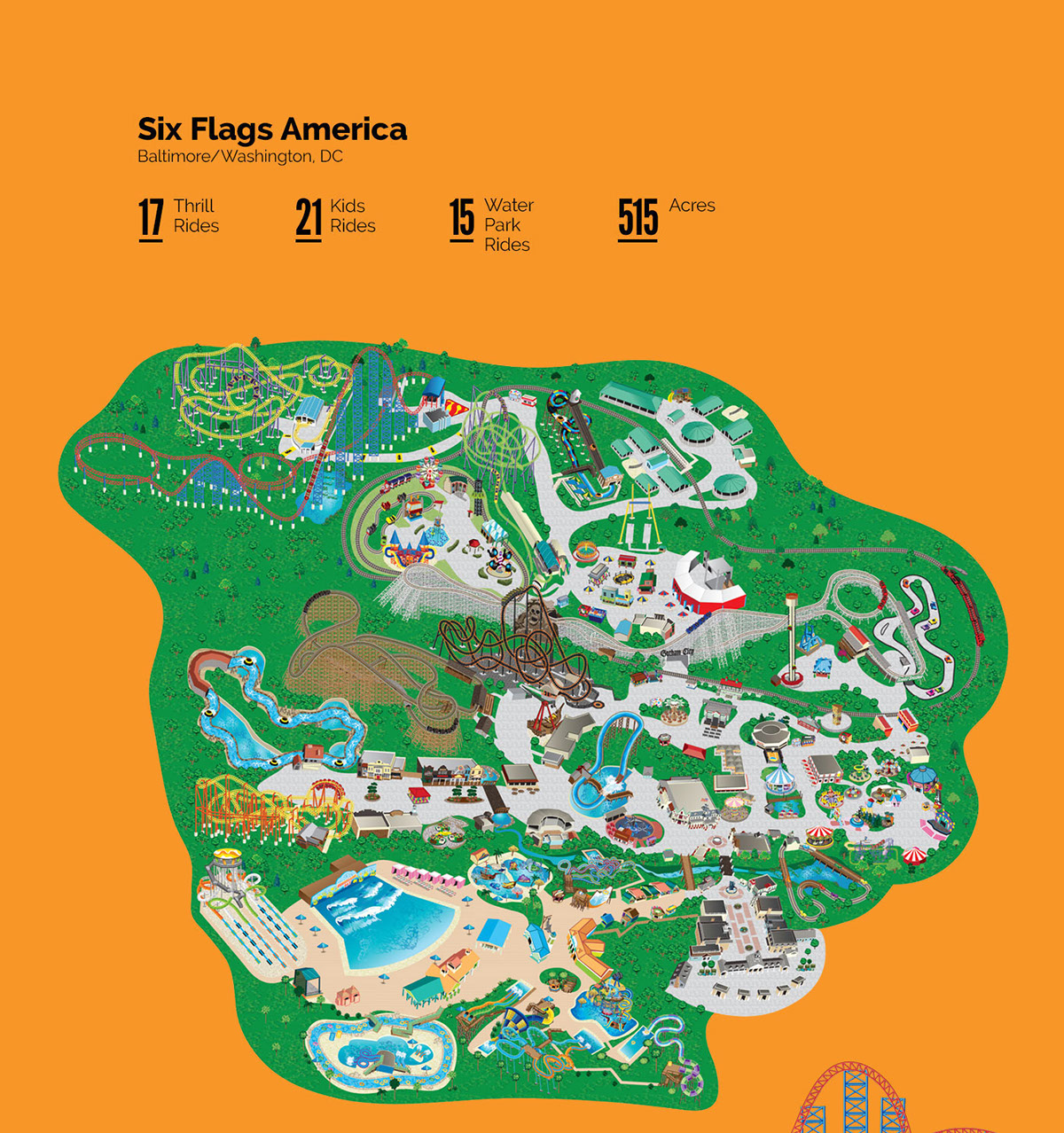 Six flags park maps illustration on pantone canvas gallery six flags park maps working within the art directors illustration style i was responsible for recreating buildings landscaping kids rides gumiabroncs Images