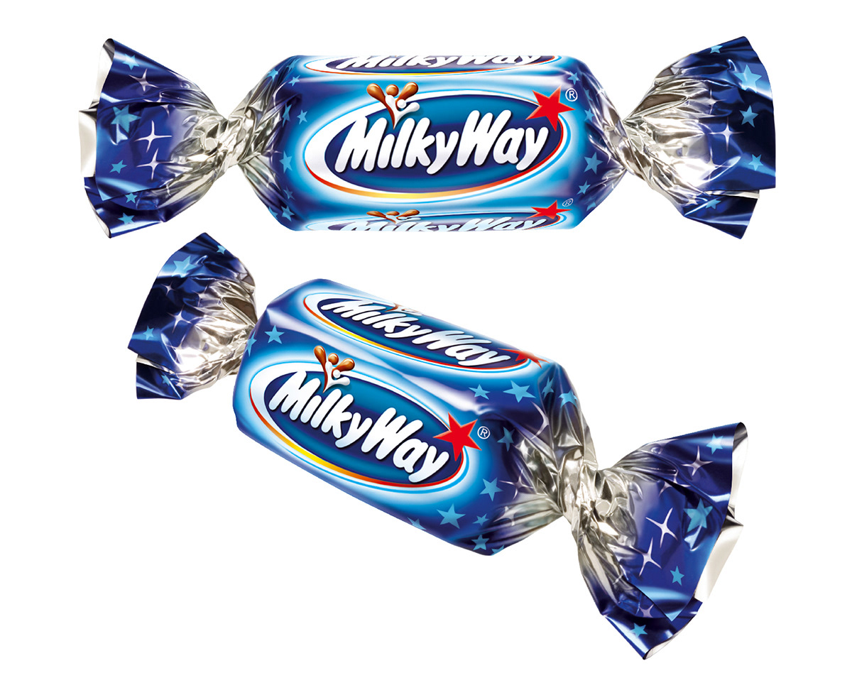 Photo realistic illustrations of Celebrations Milky Way miniture chocolates for product packaging