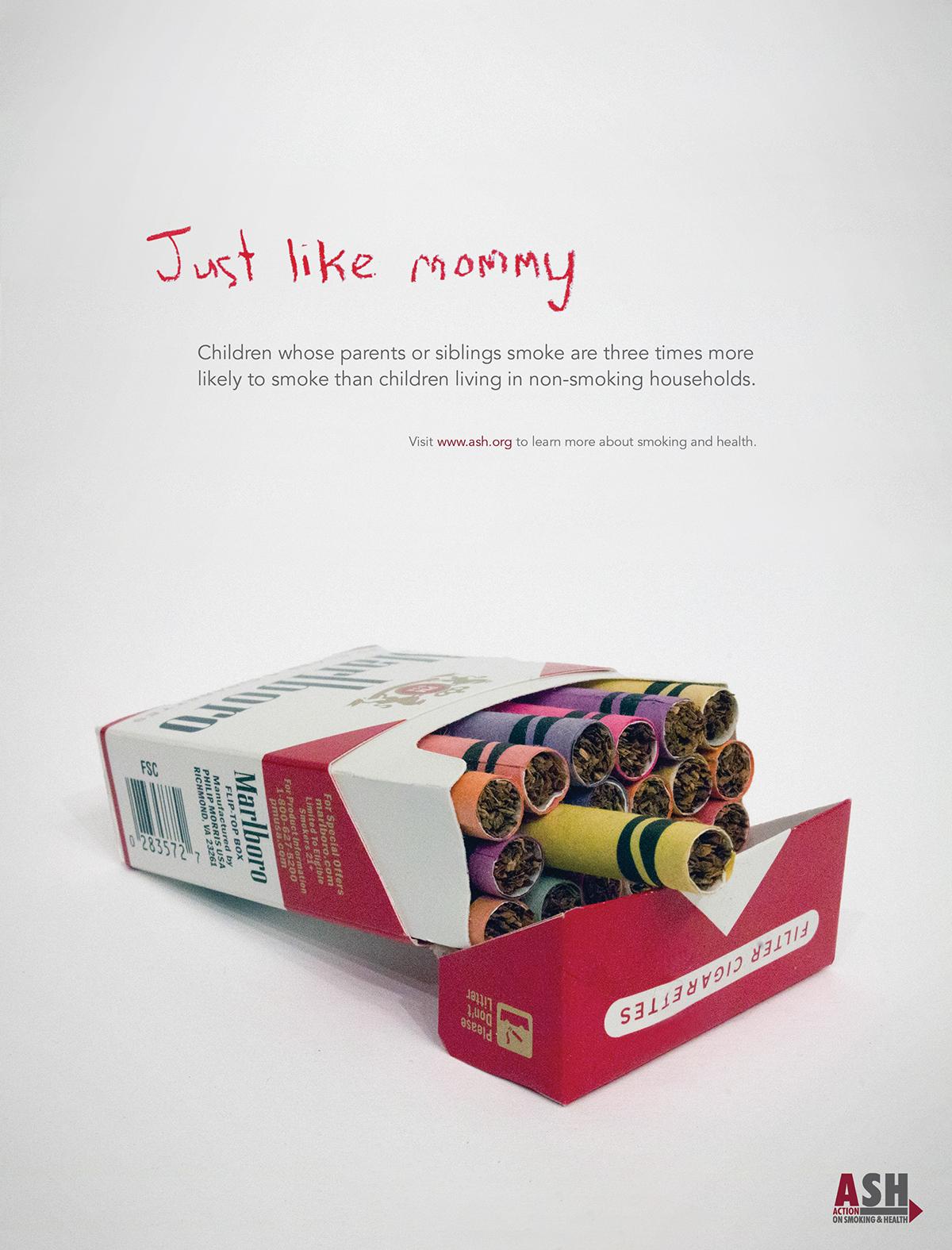 anti smoking print ad just like mommy on behance