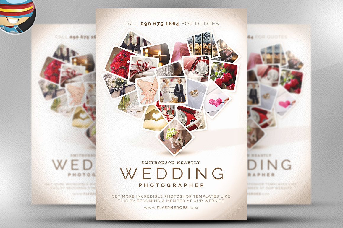 wedding photographer flyer template is a premium photoshop psd flyer poster template designed by flyerheroes to be used with photoshop cs4 and higher