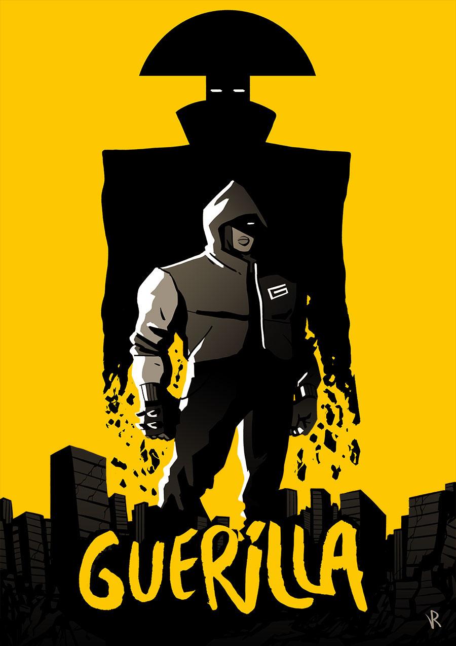 poster affiche SuperHero dark yellow jaune city monkey War rebel