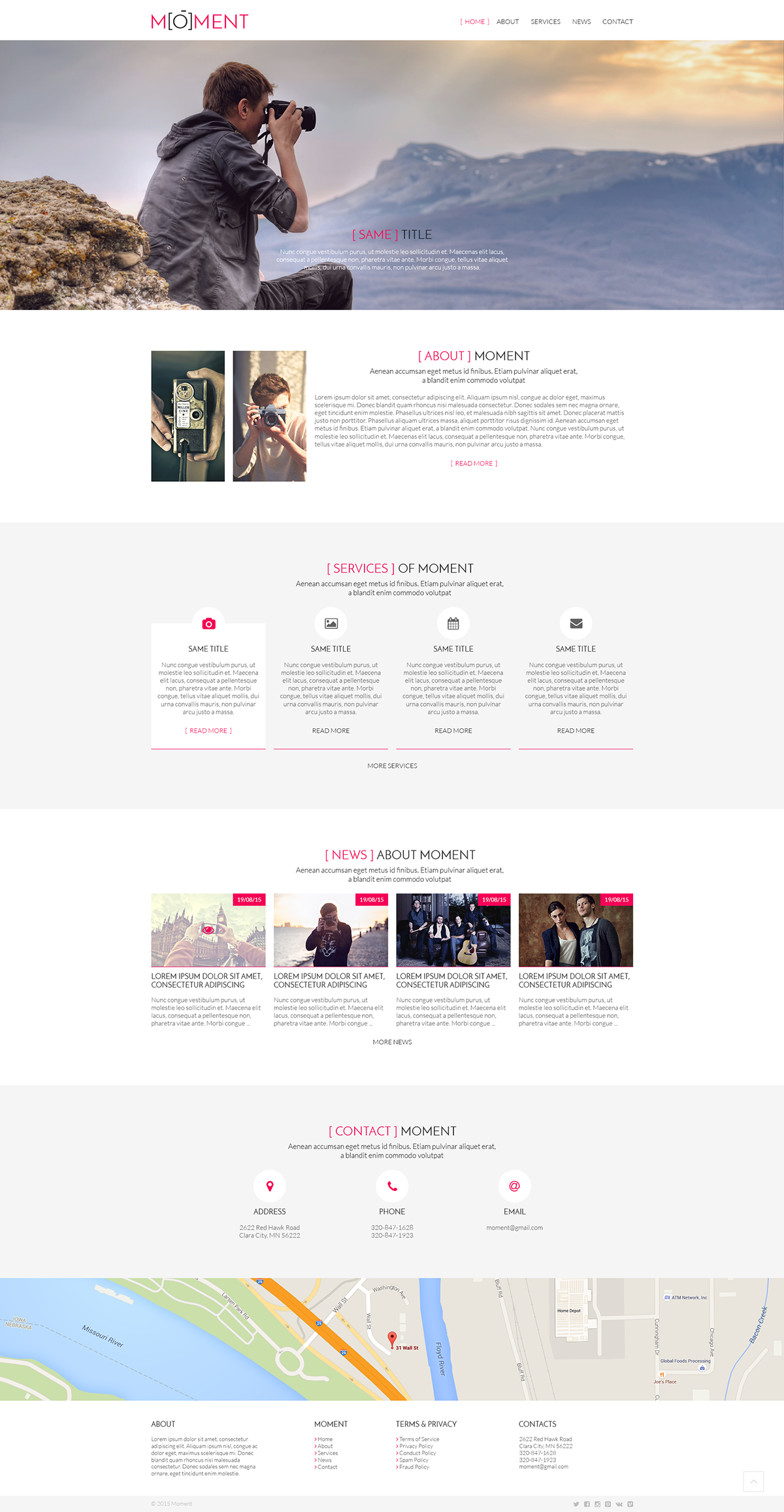 moment design Web homepage landing page