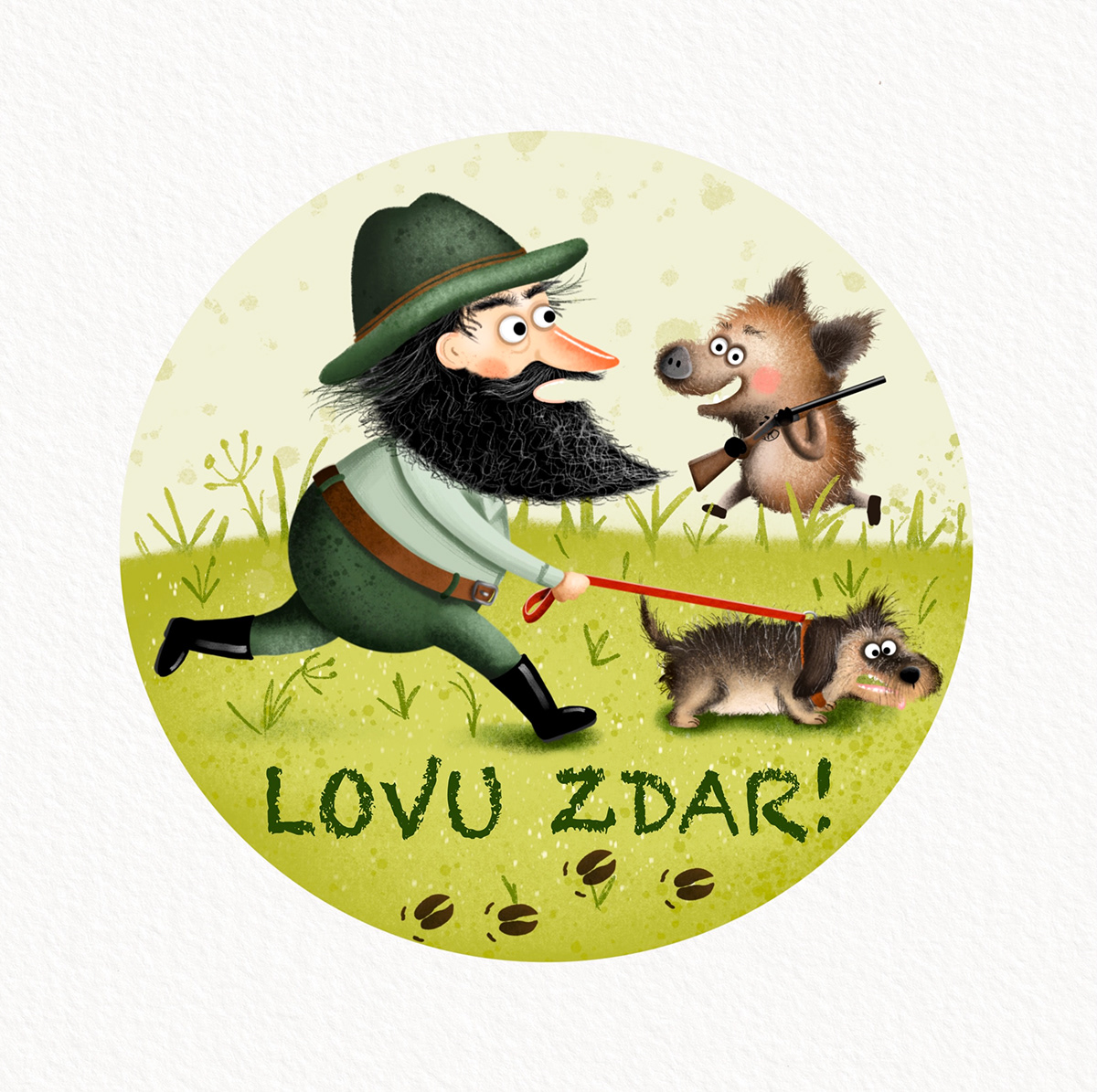 animals cartoon Character dachshund dog forest hunter ILLUSTRATION  Nature Wildboar