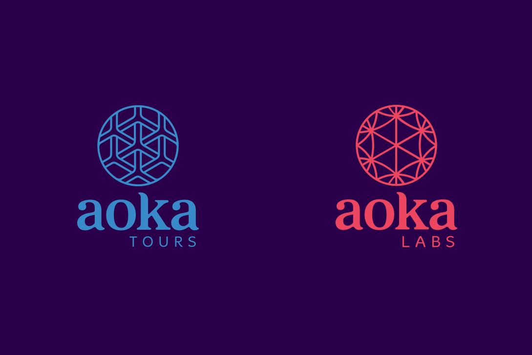 aoka aoka labs aoka tours kora korá design labs brand experience logo circle connection intersection colors