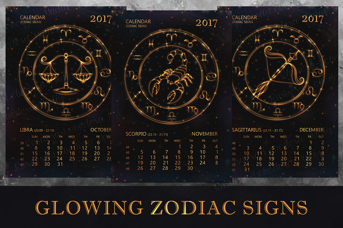 Calendar Design Zodiac : Calendar for year with zodiac signs on behance