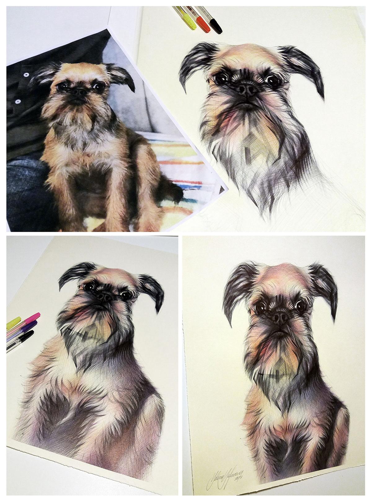 ballpoint pen sketching animals dogs cow penart dogportrait portrait girl pink