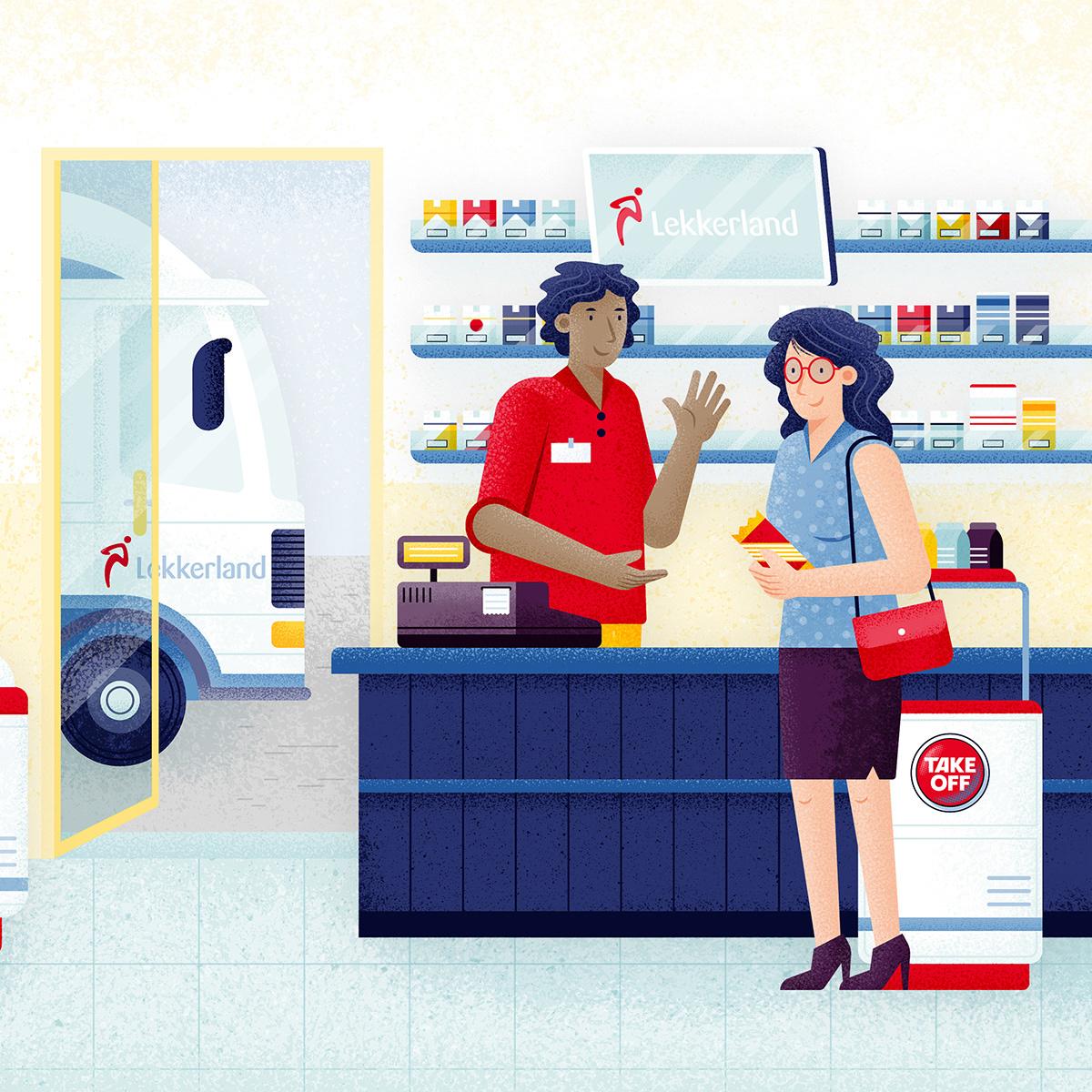 Editorial Illustration ILLUSTRATION  Magazine illustration flat illustration corporate illustration Vectorillustration vector people Food  Food service industry