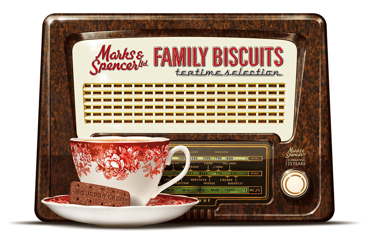 Biscuit cookie tin created in the style of an old time vintage radio for Marks & Spencer.
