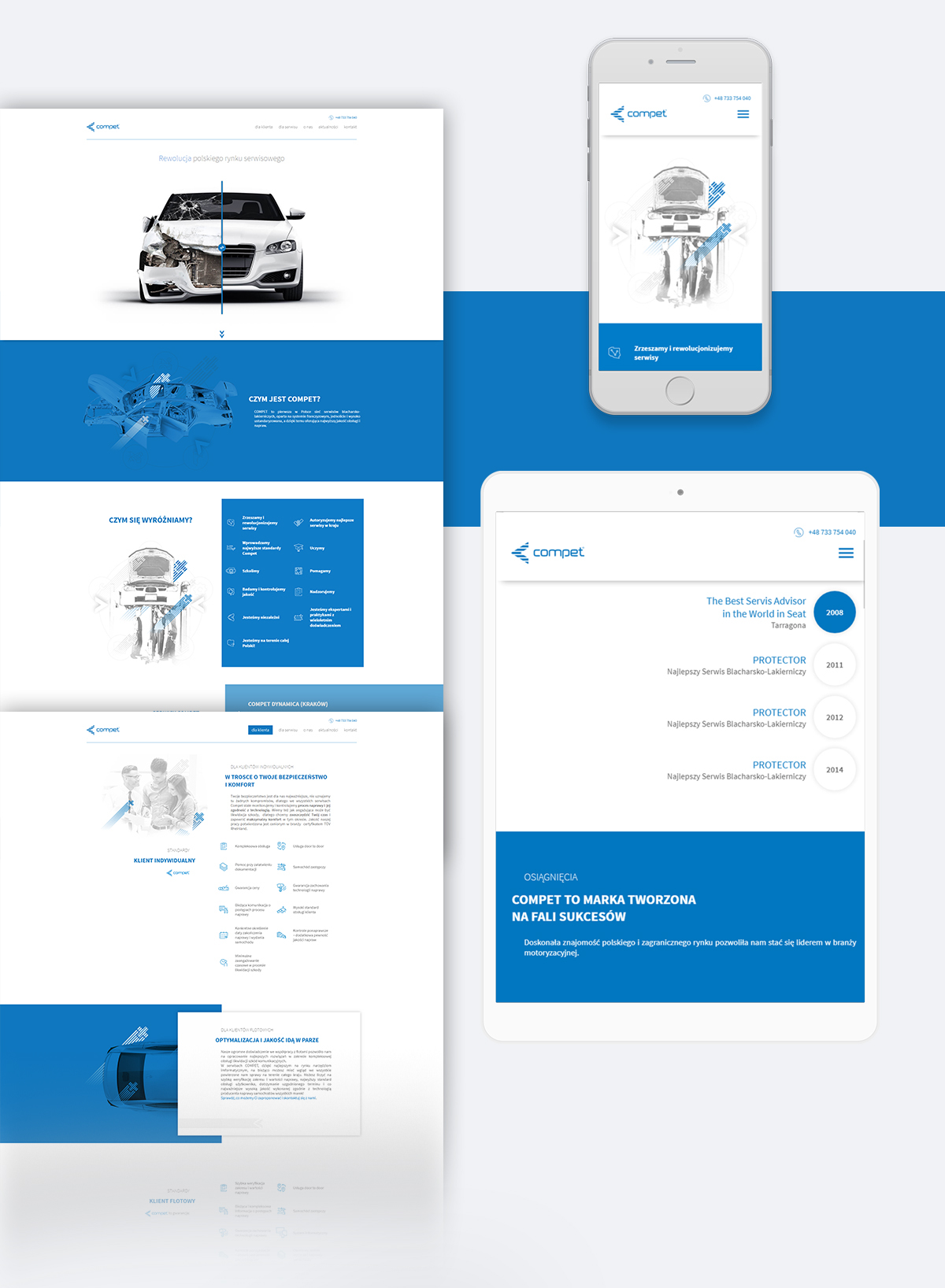 Compet Polska business card leaflets iconography car repair