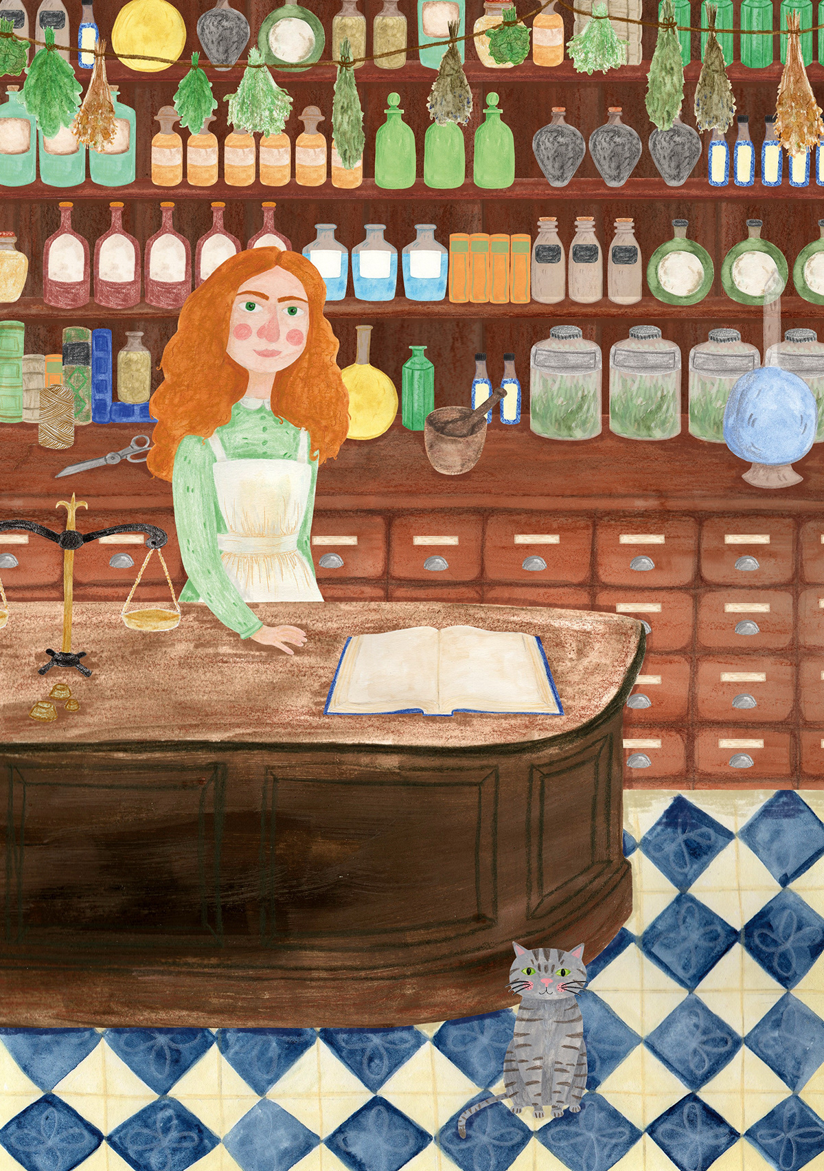 book illustration potion shop apothecary victorian pharmacy childrens illustration witch Mixed Media Illustration shop girl Character