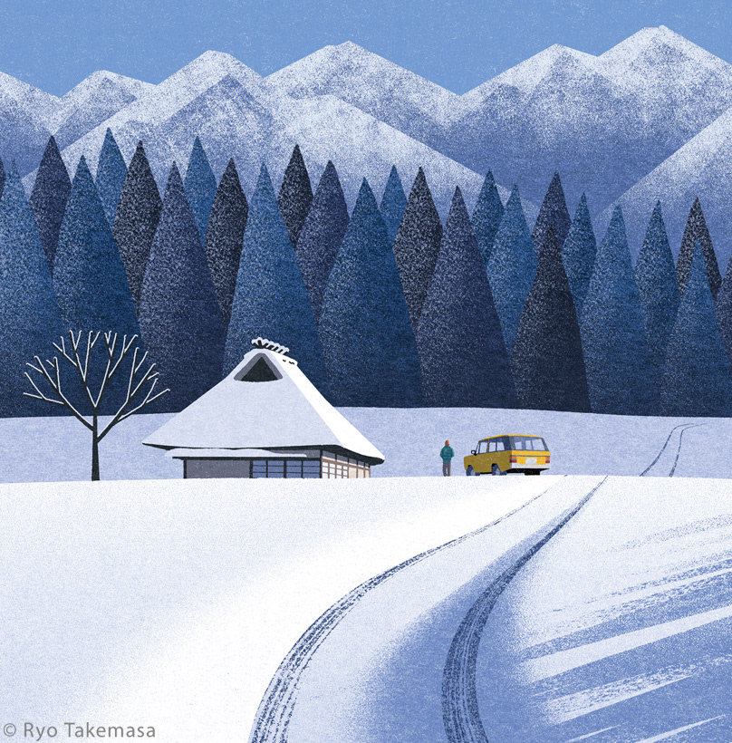 car country countryside house japan Landscape rural area snow winter