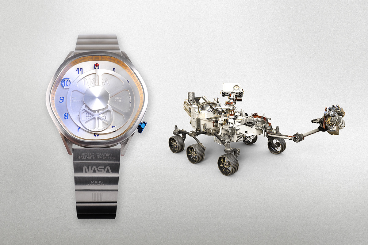 The Mars Time is inspired by Perseverance Rover's landing site Jezero Crater, Mars.