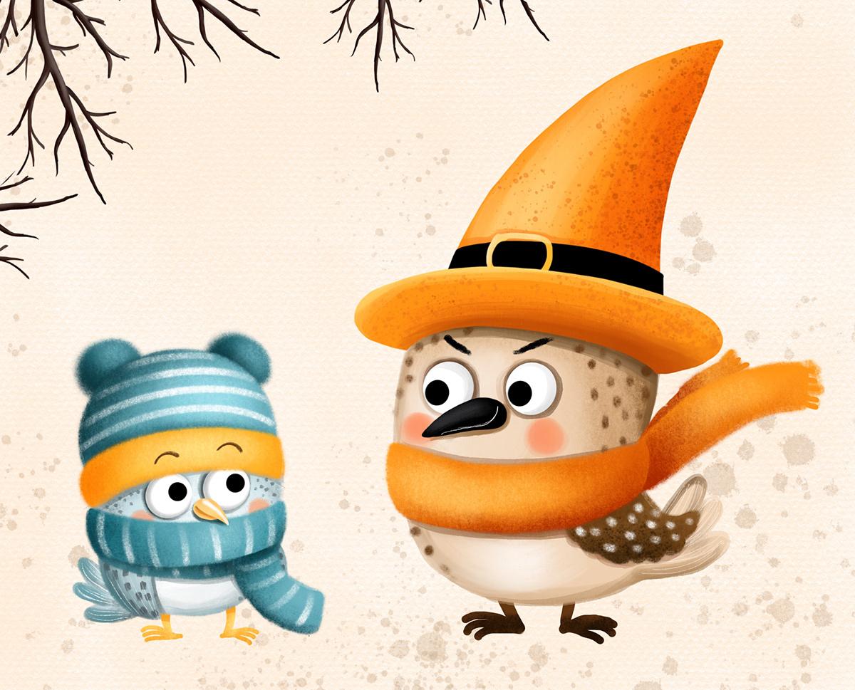 animal autumn bird characterdesign Childrensillustration Halloween Nature