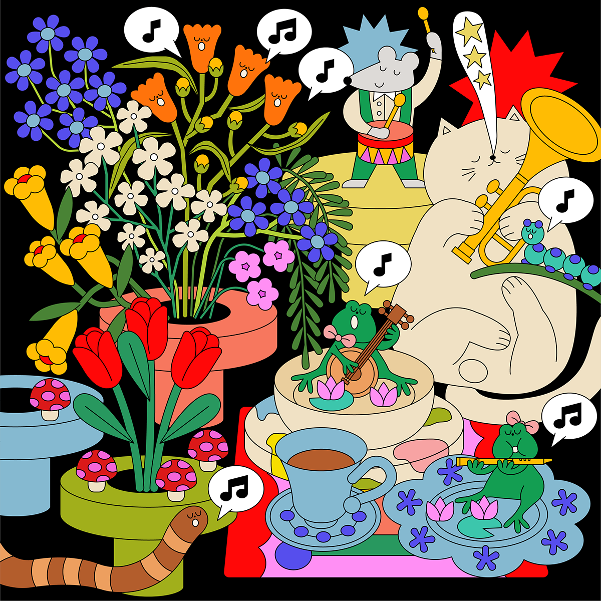animals animation  flower graphic design  ILLUSTRATION  Illustrator music pattern poster summer