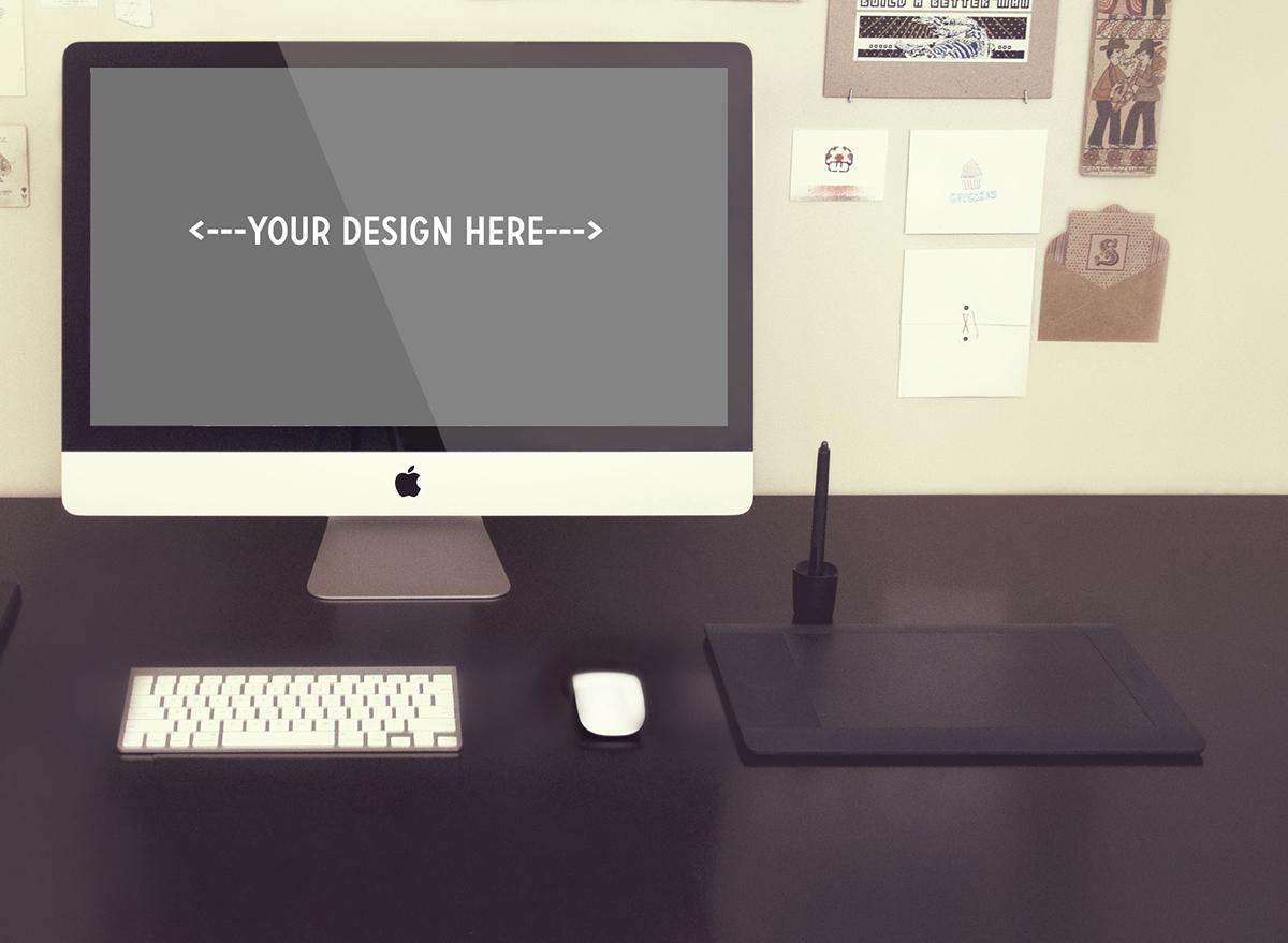 free psd mock mock-up mock-ups donwload screen mac apple iMac desktop Web app