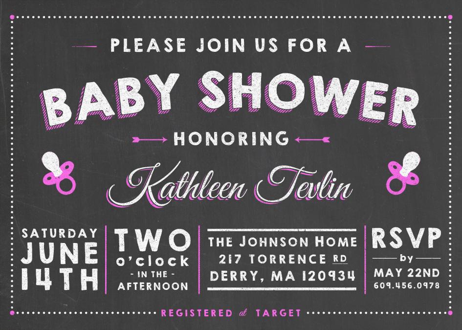 Chalkboard baby shower invitation design on behance filmwisefo