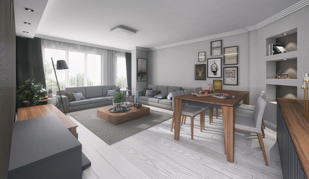 An interior visualization work in SketchUp+Vray  on Behance