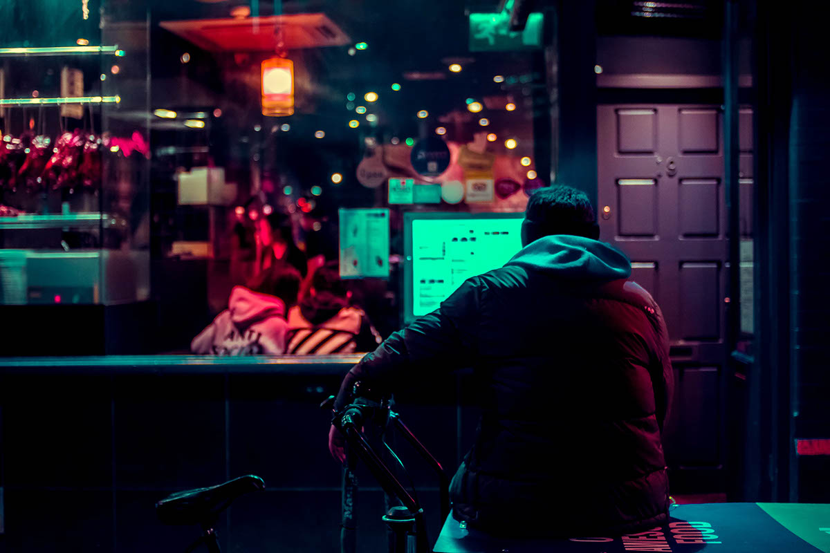 neon night Colourful  streets light night photography Cyberpunk noir city Retro
