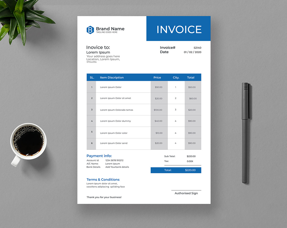 Invoice Template Design On Behance