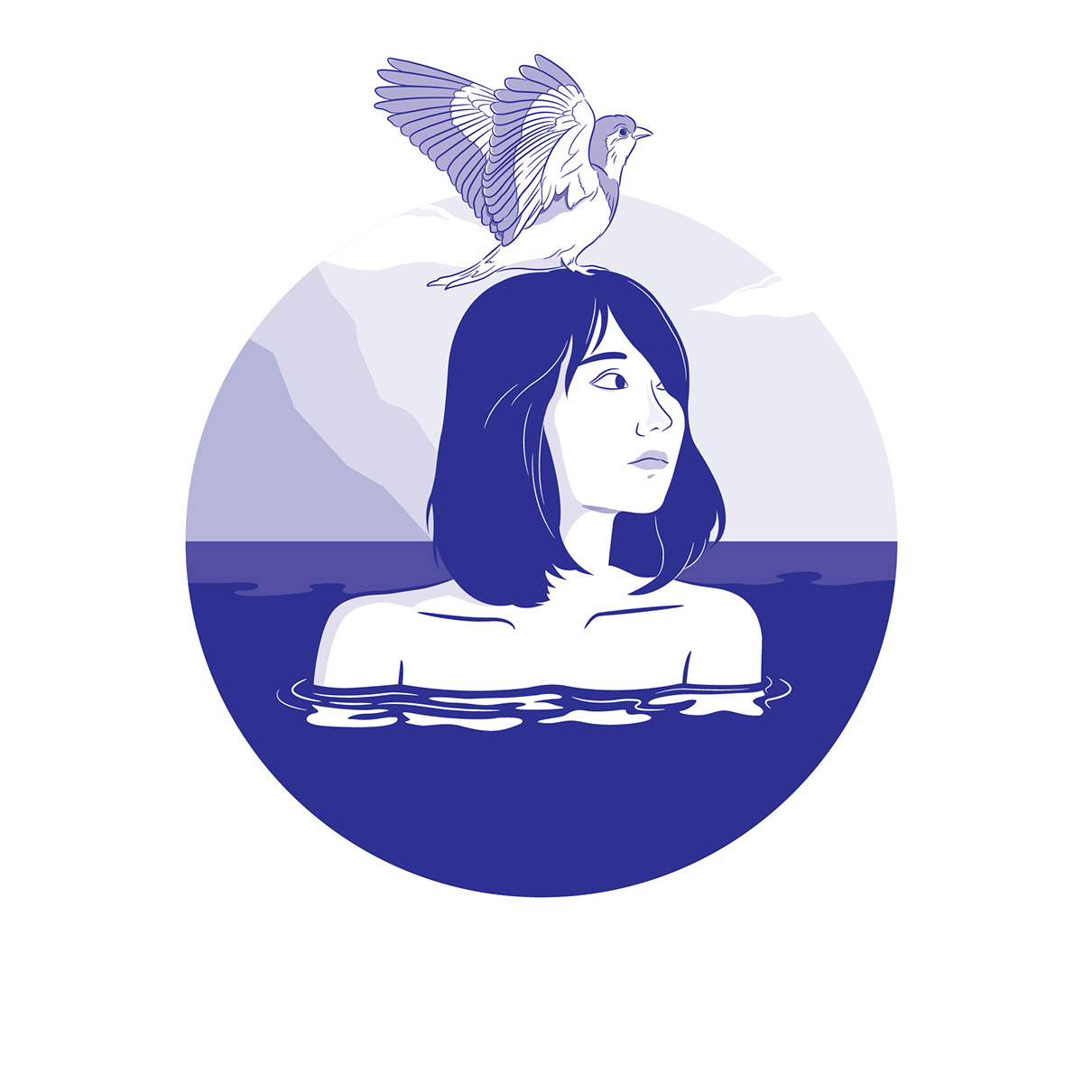 girl sea swan bird monotone color