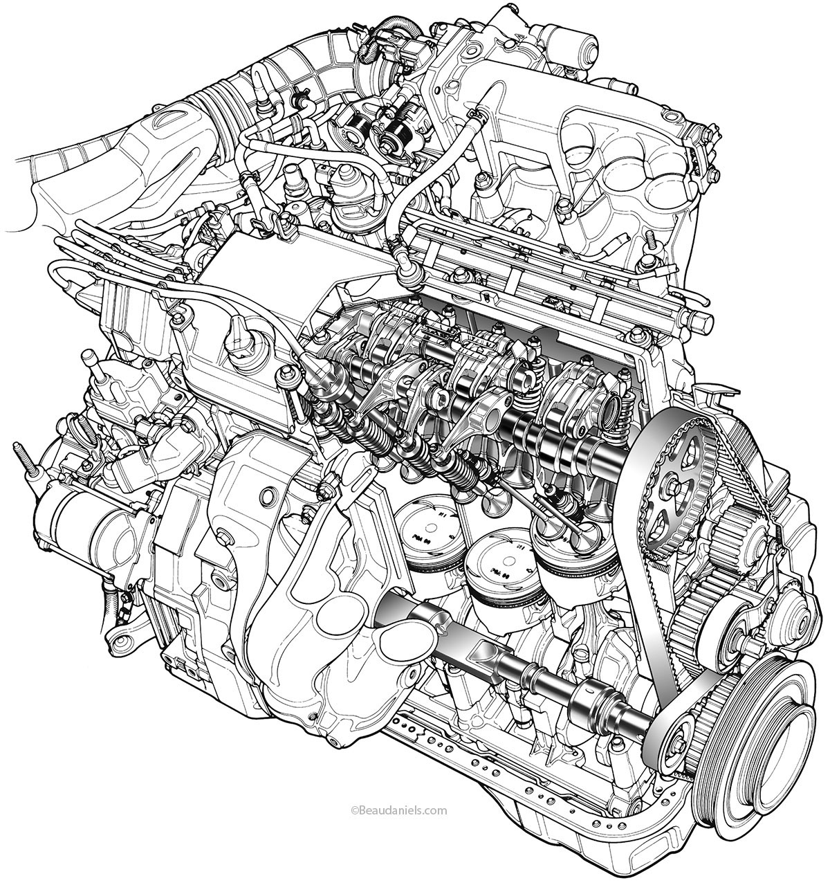 generic car cutaway wiring diagram and engine diagram Toyota Engine Diagram Toyota Celica Engine Diagram