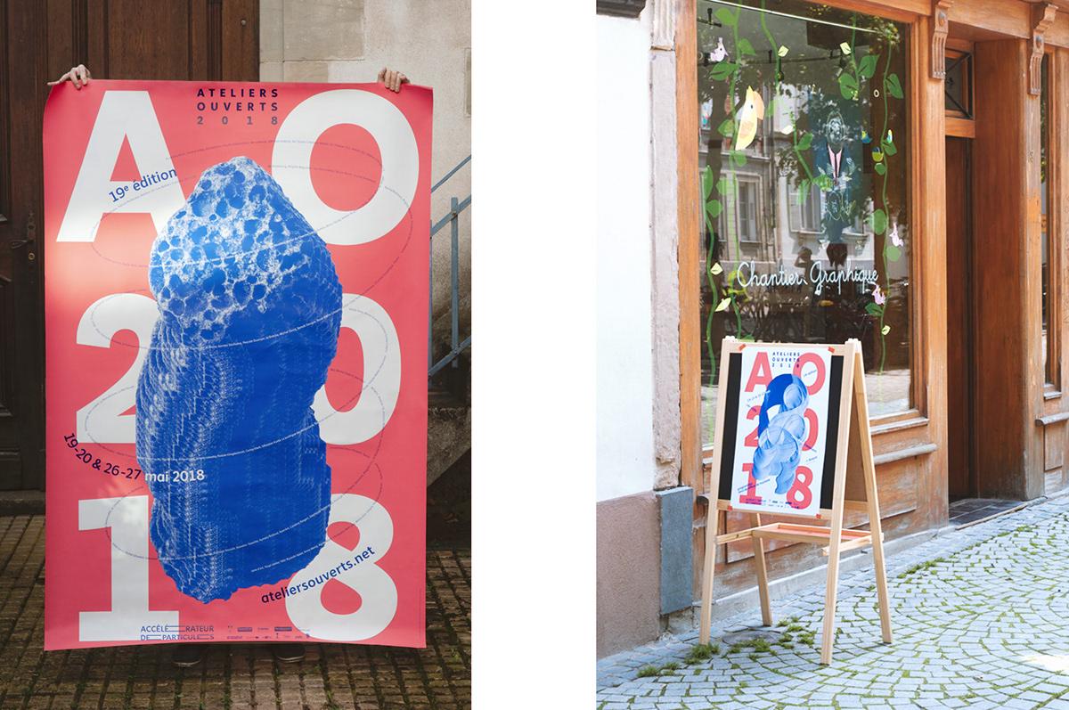 poster art festival pink blue map Duotone postcards typography   silkprint