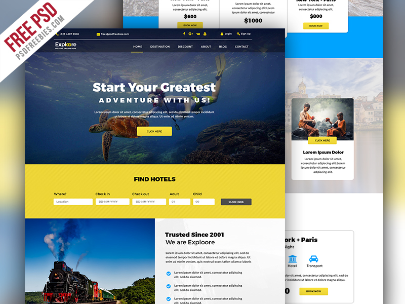 Travel Tour Booking Website Free Psd On Behance