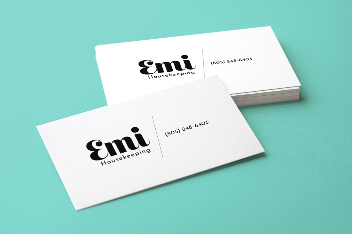 Emi Housekeeping Logo Design Business Card On Student Show