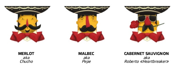 wine Label Mexican grape red characters drawn Fun design mexico sketches inspiration rose quirky