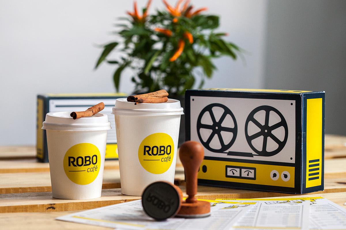 cafe Interior yellow takeaway grapchic design brand bakery wood robot