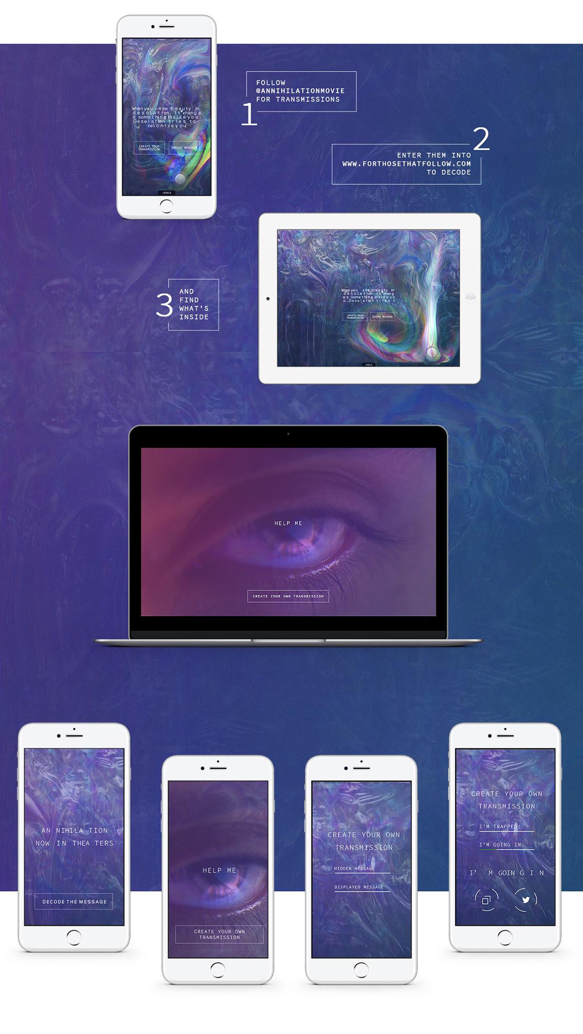 annihilation movie shimmer code message purple universal