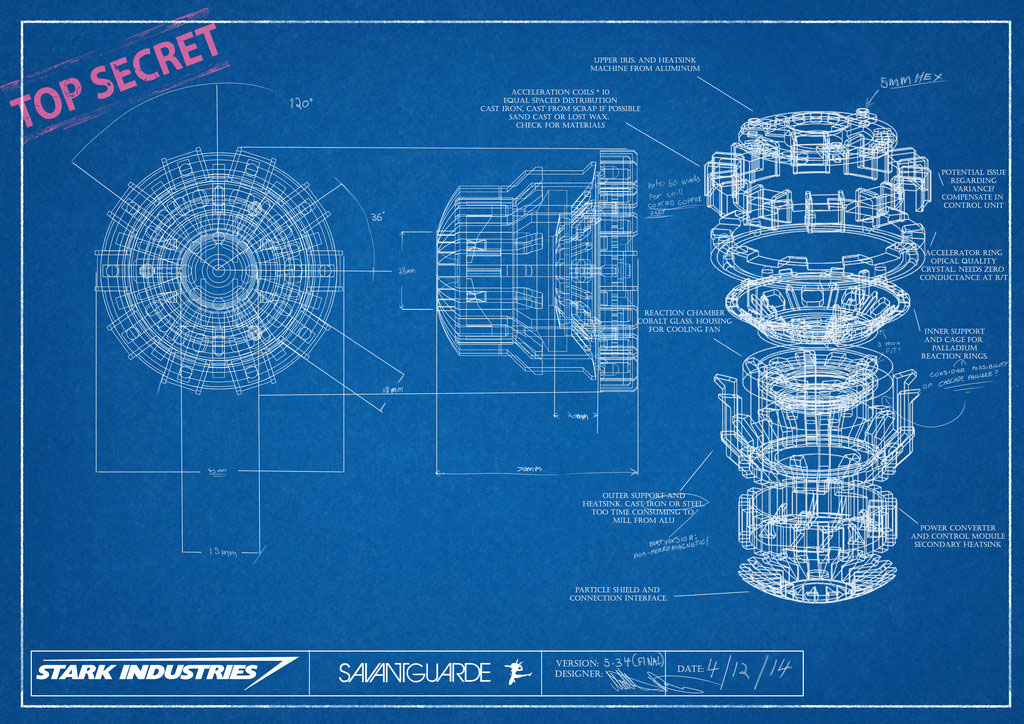 Arc reactor project on behance for Construction blueprint maker