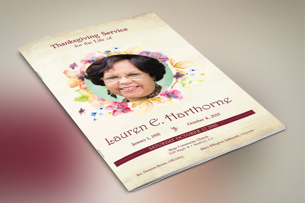 Watercolor Funeral Program Publisher Template on Behance – Funeral Program Background