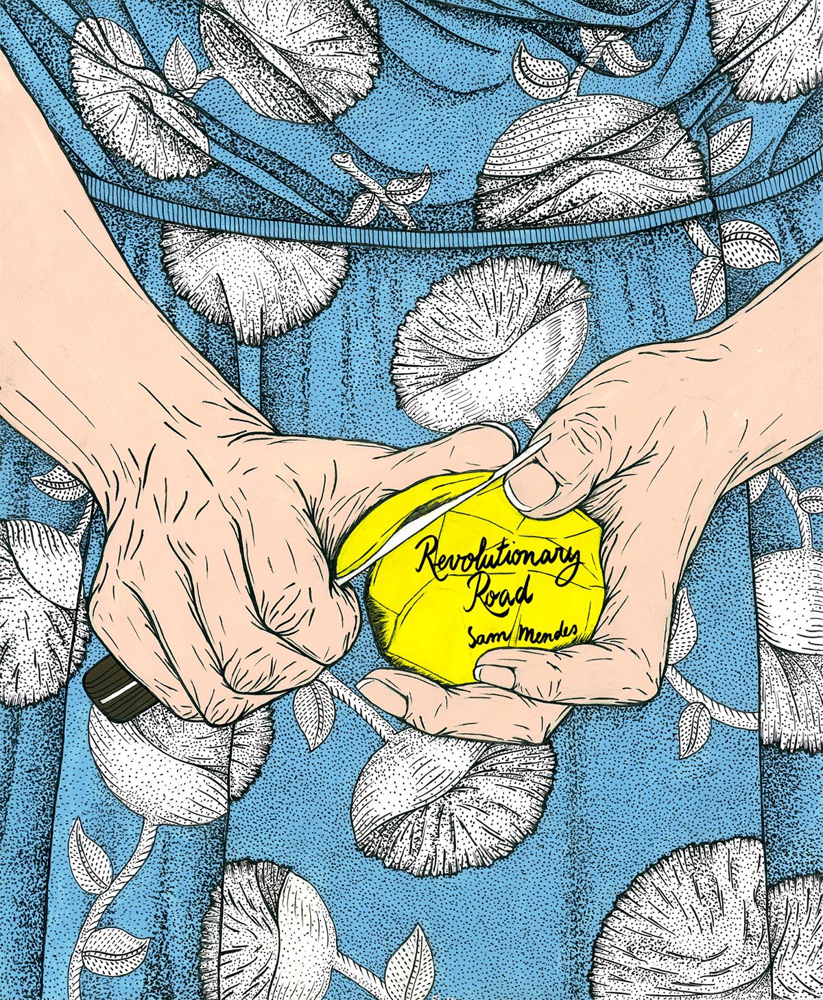 shutter island poster movie poster Cinema single man Amelie Poulain restless Revolutionary Road Billy Elliot the reader martin scorsese gus van sant jean pierre jeunet acrylic indian ink