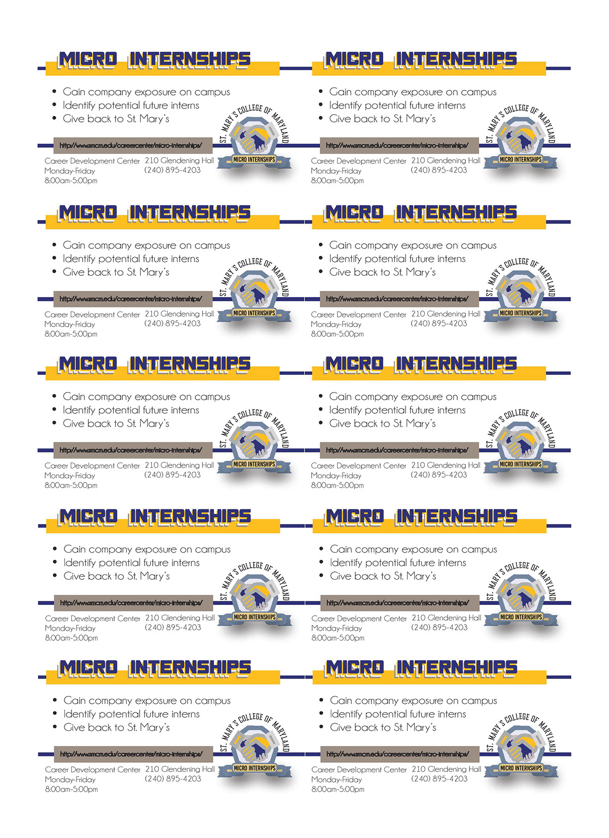 st mary s career center graphic design work on behance career center business cards for st mary s college micro internship program