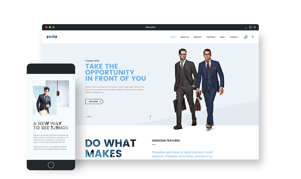 Zaria wordpress theme html5 template on behance zaria is a psd file that has a bold unique design created with a modern business in mind inside you will find 3 different homepages and a homepage from maxwellsz