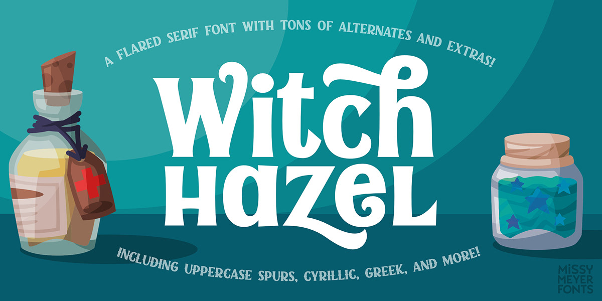 alternates flared flourish font Fun modern Retro smooth vintage Witch Hazel